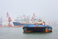 Rusty boat in Port of Tianjin, China Stock Image