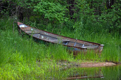 Rusty boat in weeds Royalty Free Stock Images