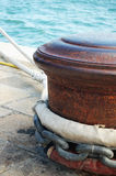 Rusty Bollard. With a white Rope, taken in Venice Royalty Free Stock Photo