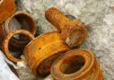 Rusty bolt and bearings Royalty Free Stock Images
