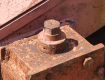 Rusty bolt with nut Stock Photos