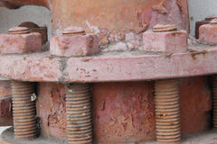 Rusty bolt with nut Stock Images