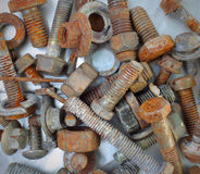 Rusty bolts, nuts. Various rusted bolts, nuts and other piece of iron Royalty Free Stock Image