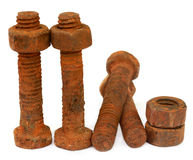 Rusty bolts with nuts Stock Images