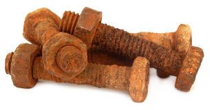 Rusty bolts with nuts Royalty Free Stock Images