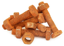 Rusty bolts with nuts Stock Image