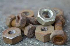 Rusty bolts and nuts Stock Photo