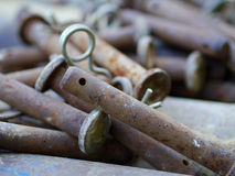 Rusty bolts with spring detail Stock Photography