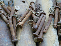 Rusty bolts with spring mixed up Stock Photos
