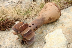 Rusty bomb shell case Stock Image