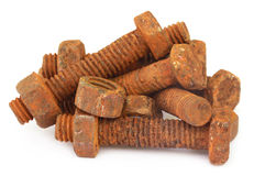 Rusty bots with nuts Stock Photos