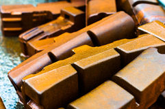 Rusty brake pads. Rusty old train break pads royalty free stock images