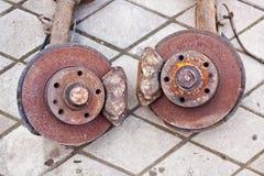 Rusty brake system close up.  royalty free stock photos