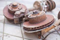 Rusty brake system close up.  stock photos