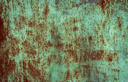 Rusty brown iron texture, green old fence with peeling paint. Textured wallpaper for design vector illustration