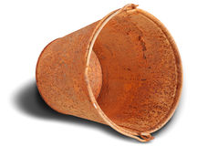 Rusty bucket (Clipping path) Royalty Free Stock Photos