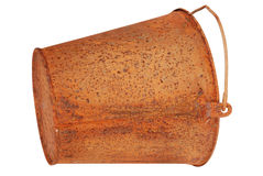 Rusty bucket (Clipping path) Royalty Free Stock Photos