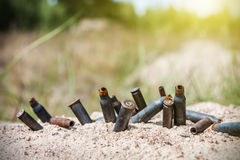 Rusty bullet shells on the battlefield Royalty Free Stock Image