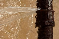 Rusty burst pipe