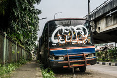 Rusty bus wreckage abandon photo taken in jakarta indonesia Royalty Free Stock Photos