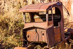 Rusty Cab Of Antique Automobile stockfotografie