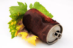 Rusty can and autumn leaf Stock Photography