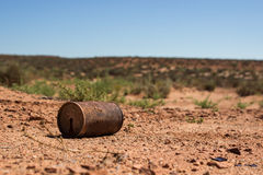 Rusty Can. In the desert Stock Images
