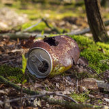 Rusty can in the forest Stock Photos