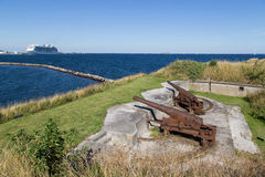 Rusty cannons at Trekroner Fort Royalty Free Stock Image