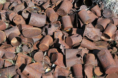 Rusty cans stock photo
