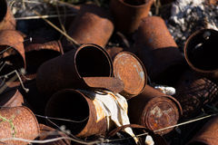Rusty cans Stock Photography