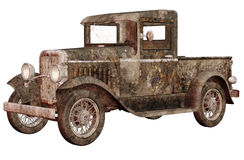 Rusty car. 3D render of an old rusty car Royalty Free Stock Image