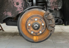 Rusty car brake. Wait for service in the garage Royalty Free Stock Photography