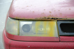 Rusty car. And rusty headlight stock images