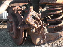 Rusty car parts. Scrap-heap with old rusty parts from cars Royalty Free Stock Photography