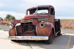 Rusty car wreck at Route 66, Arizona, USA Stock Photo