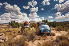 Rusty cars in abandoned town along Route 66 Stock Photo