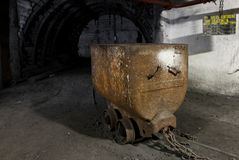 Rusty cart in modern mine Stock Photo