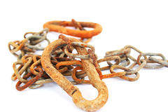 Rusty chain. Isolated on white background Stock Images