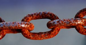Rusty Chain. Rust on a steel chain Stock Photo