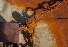 Rusty Chain. A rusty bolt on a chain link royalty free stock image