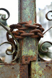 Rusty chain and gate Royalty Free Stock Photography