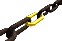 Rusty chain with golden link Royalty Free Stock Images