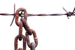 Rusty chain hang with barbed wire Royalty Free Stock Photos