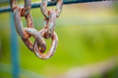 Rusty chain hangs on a blue fence in the afternoon royalty free stock photo
