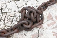 Rusty chain knot Stock Photo