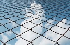 Rusty chain link fence under the sky background. Abstract closeu Stock Photo