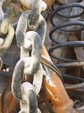 Rusty chain link. And springs in junkyard Royalty Free Stock Photography