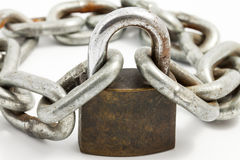 Rusty chain and lock Royalty Free Stock Images