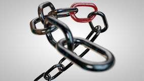 Rusty chain with the weakest link Stock Image
